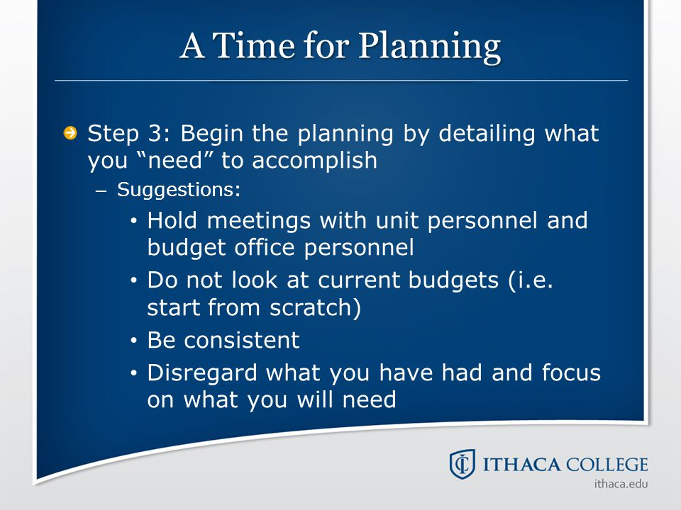 A Time for Planning Step 3: Begin the planning by detailing what you need to accomplish. Suggestions: