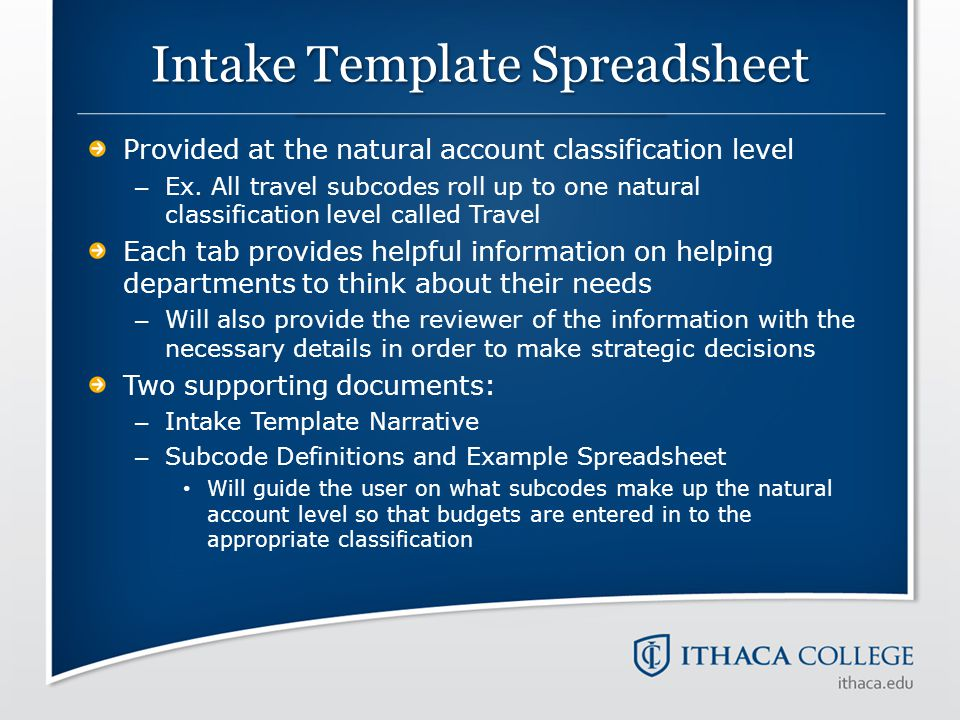 Intake Template Spreadsheet