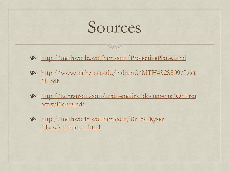 Sources http://mathworld.wolfram.com/ProjectivePlane.html