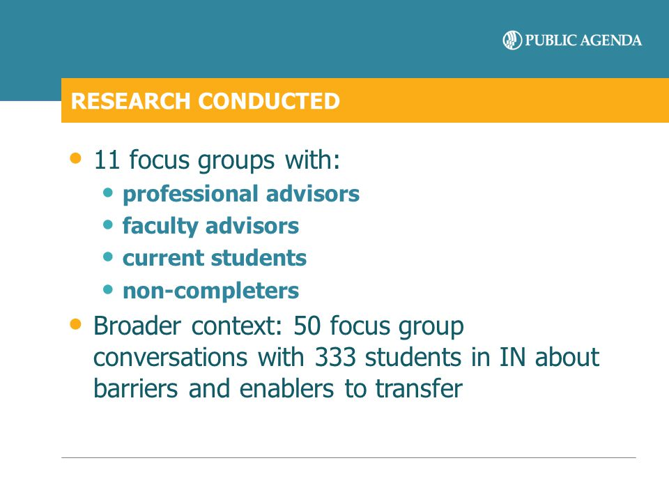 RESEARCH CONDUCTED 11 focus groups with: professional advisors. faculty advisors. current students.