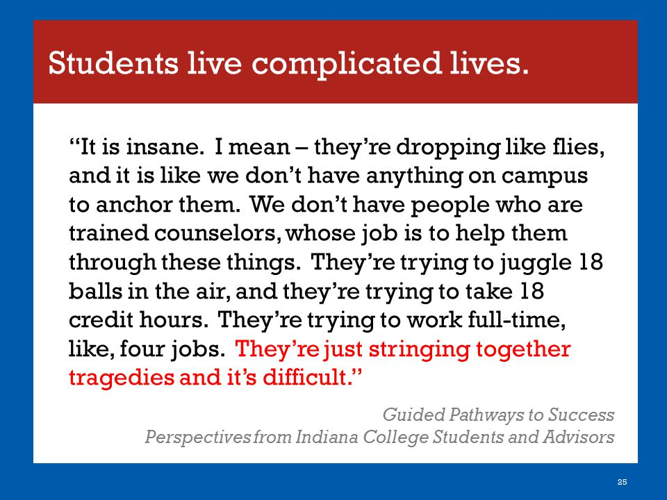 Students live complicated lives.
