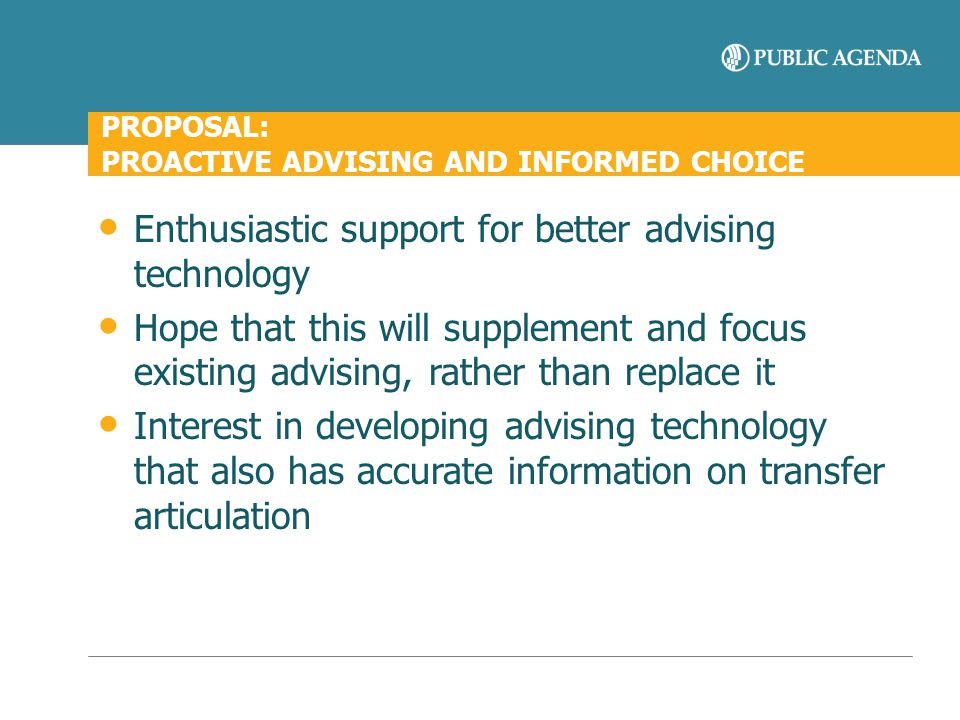 PROPOSAL: PROACTIVE ADVISING AND INFORMED CHOICE