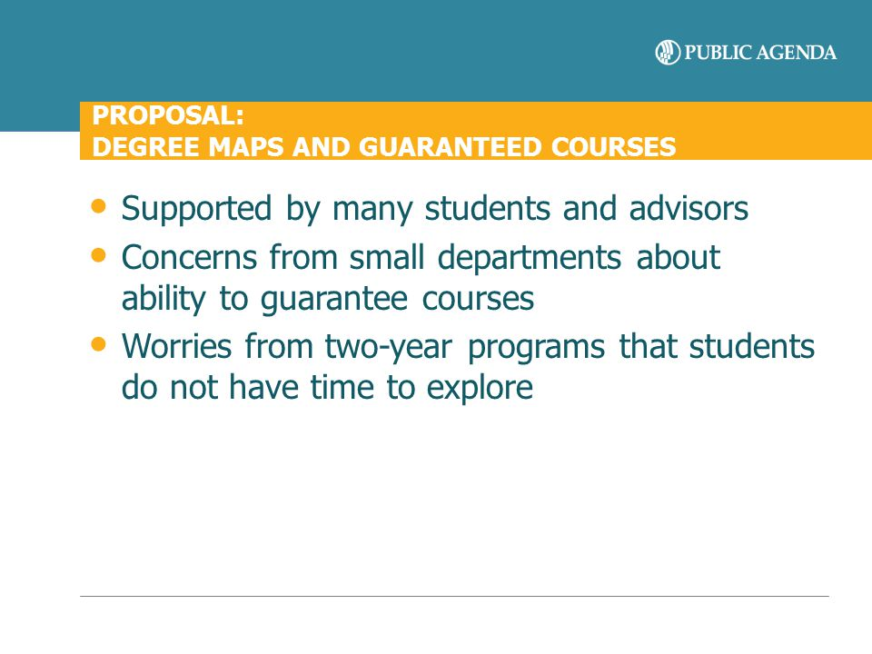 PROPOSAL: DEGREE MAPS AND GUARANTEED COURSES