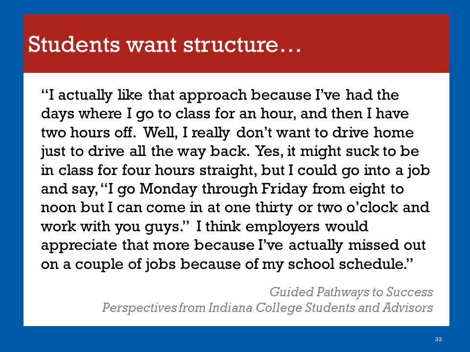 Students want structure…