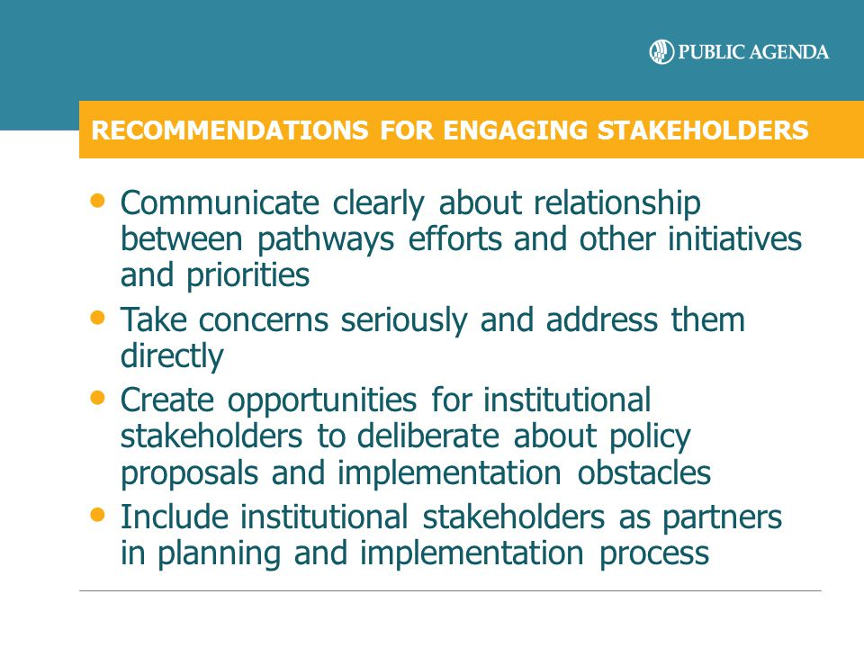 RECOMMENDATIONS FOR ENGAGING STAKEHOLDERS