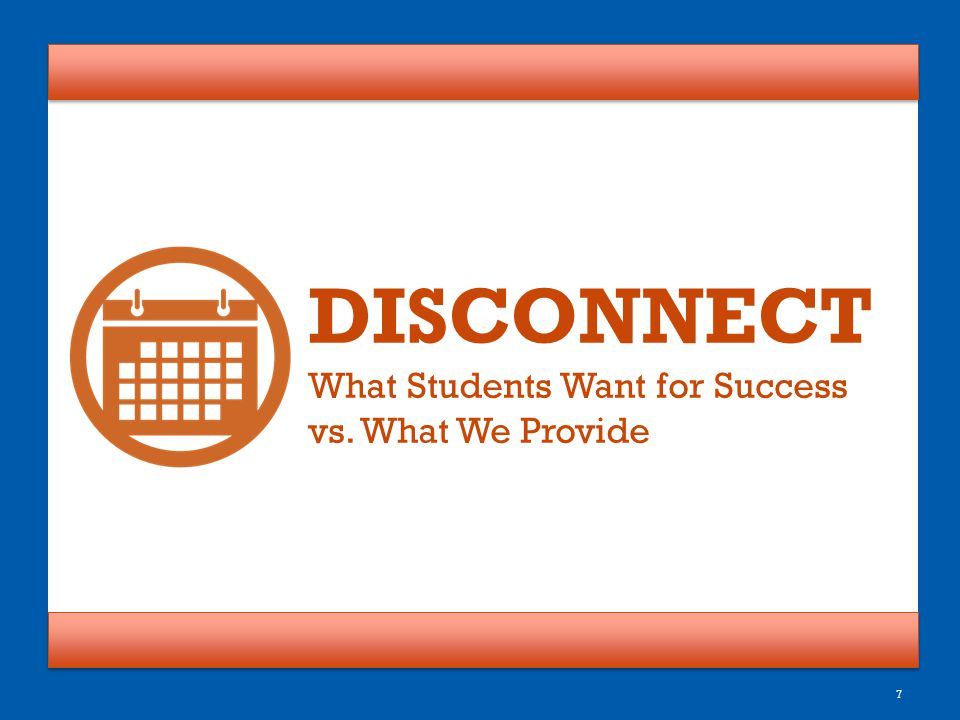 DISCONNECT What Students Want for Success vs. What We Provide
