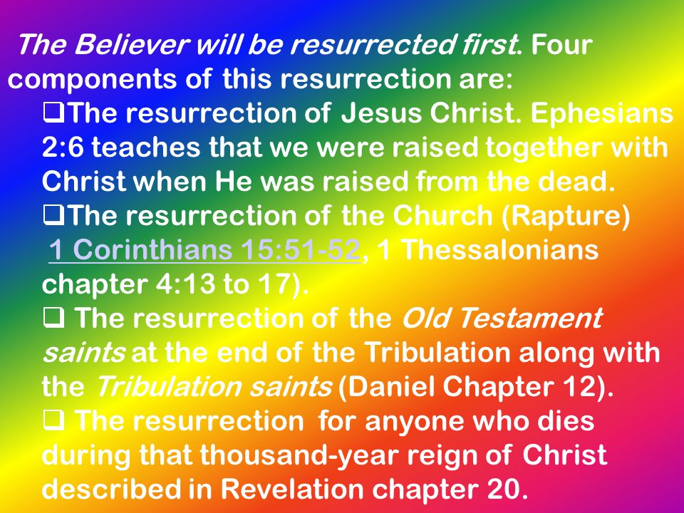 The resurrection of the Church (Rapture)