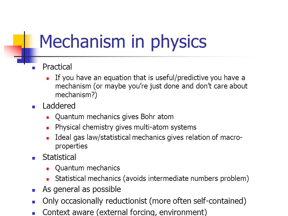Mechanism in physics Practical Laddered Statistical