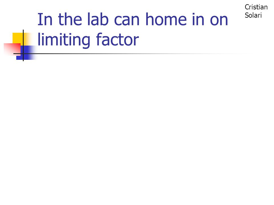 In the lab can home in on limiting factor