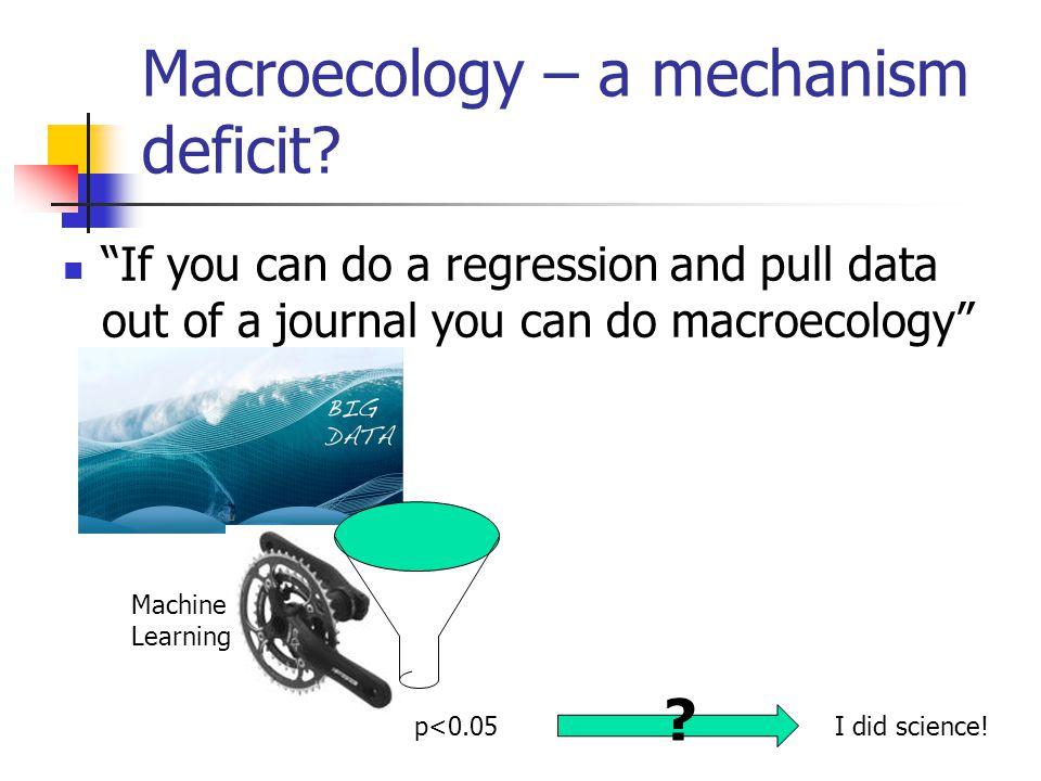 Macroecology – a mechanism deficit