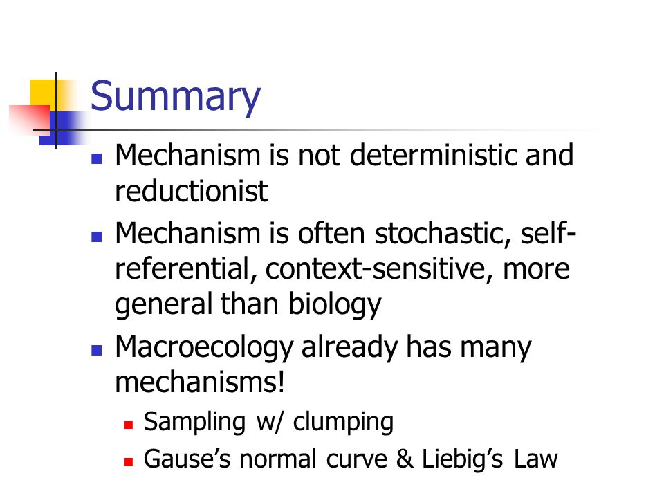 Summary Mechanism is not deterministic and reductionist