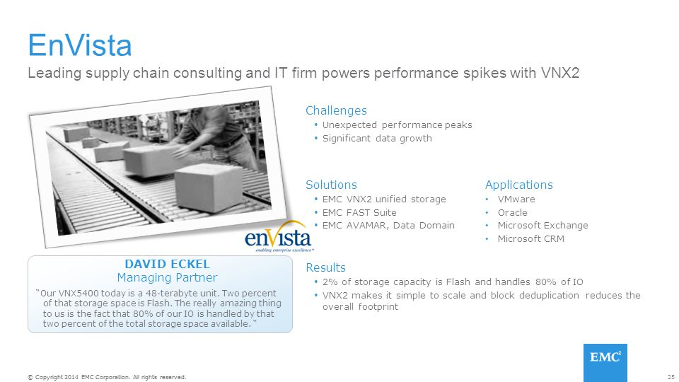 EnVista Leading supply chain consulting and IT firm powers performance spikes with VNX2. Challenges.