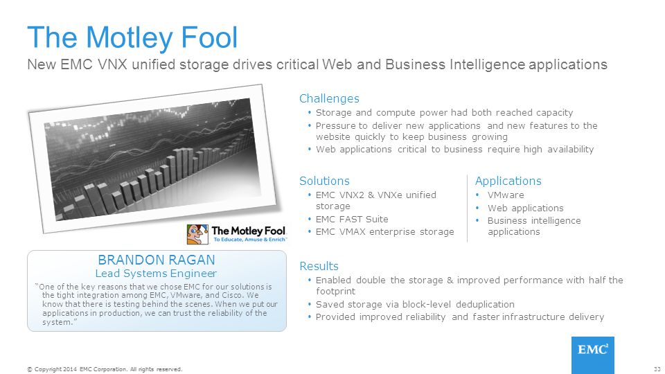 The Motley Fool New EMC VNX unified storage drives critical Web and Business Intelligence applications.