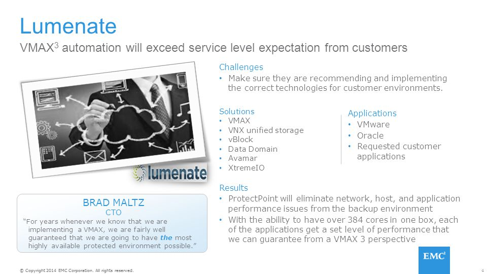 Lumenate VMAX3 automation will exceed service level expectation from customers. Challenges.