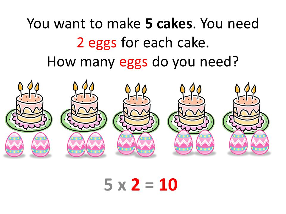 You want to make 5 cakes. You need 2 eggs for each cake