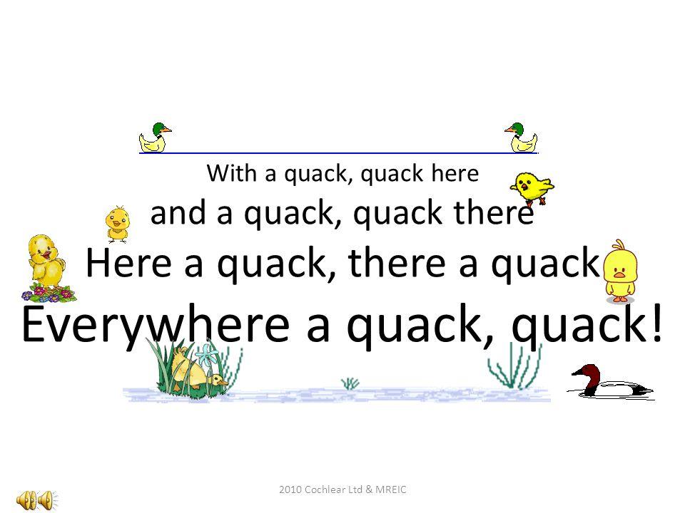 With a quack, quack here and a quack, quack there Here a quack, there a quack Everywhere a quack, quack!