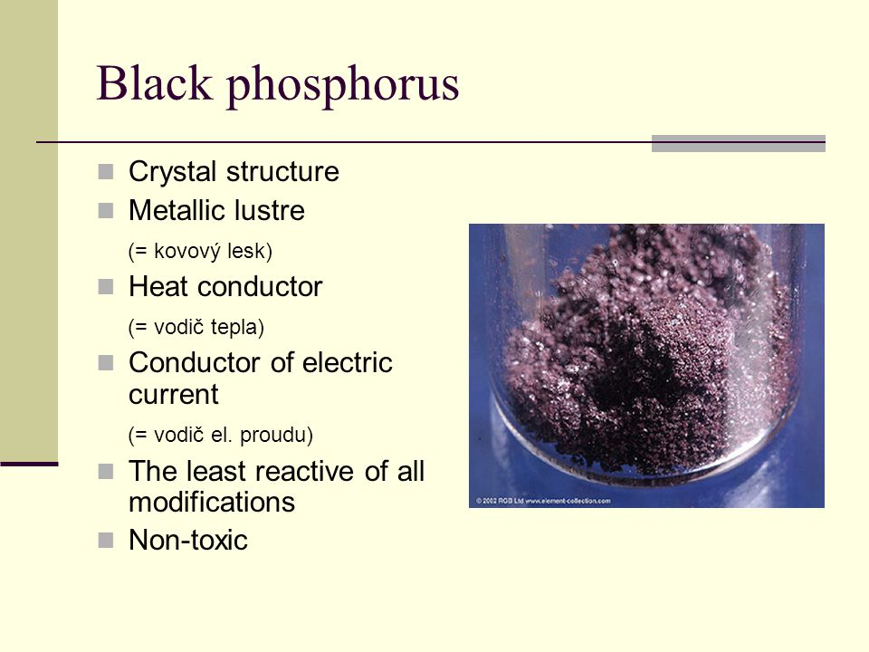 Black phosphorus Crystal structure Metallic lustre (= kovový lesk)