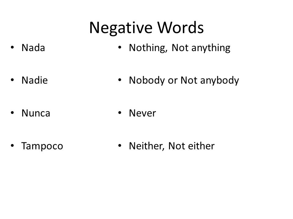 Negative Words Nada Nadie Nunca Tampoco Nothing, Not anything