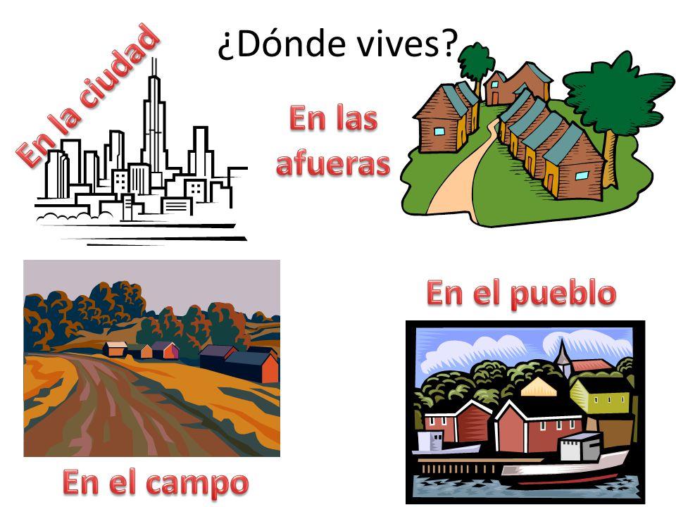 ¿Dónde vives En la ciudad En las afueras En el pueblo En el campo