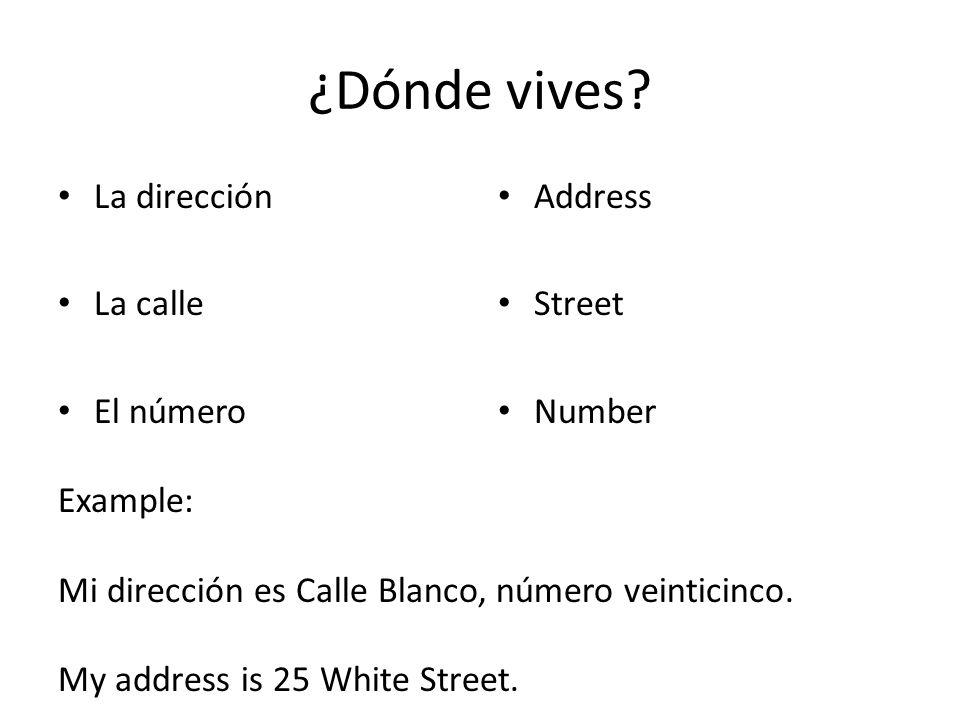 ¿Dónde vives La dirección La calle El número Address Street Number