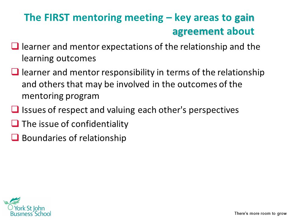 The FIRST mentoring meeting – key areas to gain agreement about