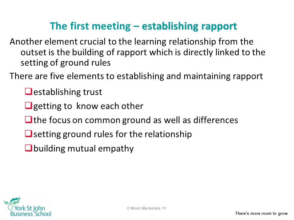 The first meeting – establishing rapport