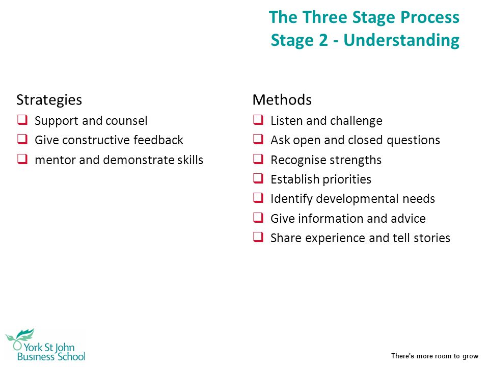 The Three Stage Process Stage 2 - Understanding