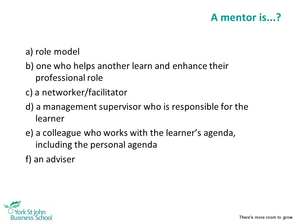 A mentor is... a) role model