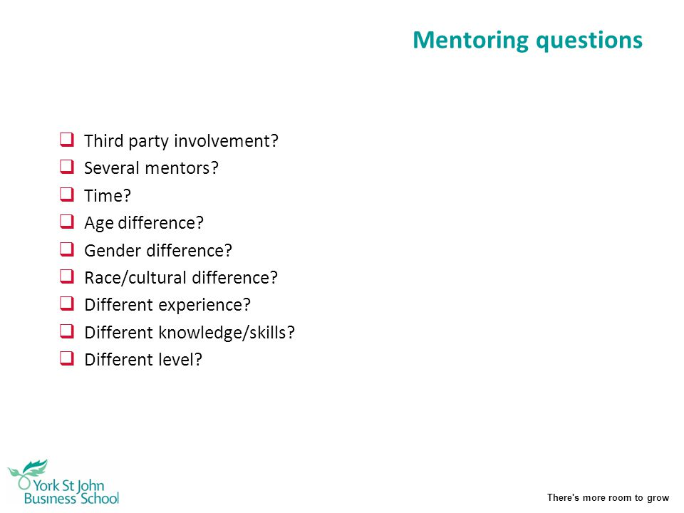 Mentoring questions Third party involvement Several mentors Time