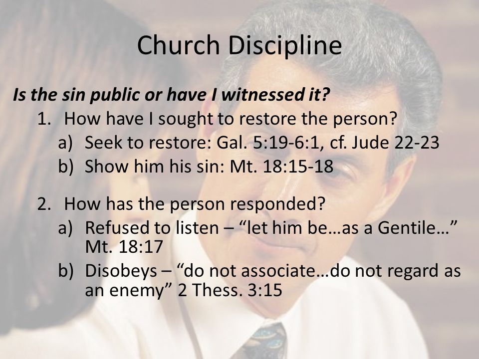 Church Discipline Is the sin public or have I witnessed it