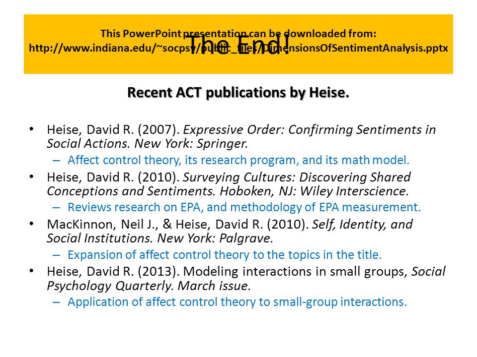 The End! Recent ACT publications by Heise.