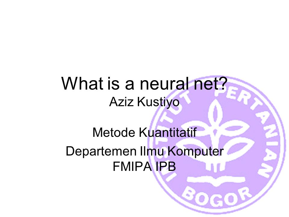 What is a neural net Aziz Kustiyo