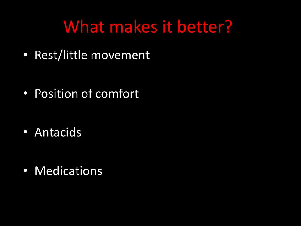 What makes it better Rest/little movement Position of comfort