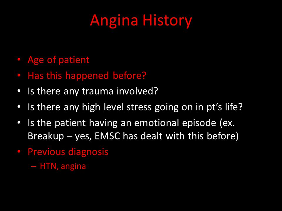Angina History Age of patient Has this happened before