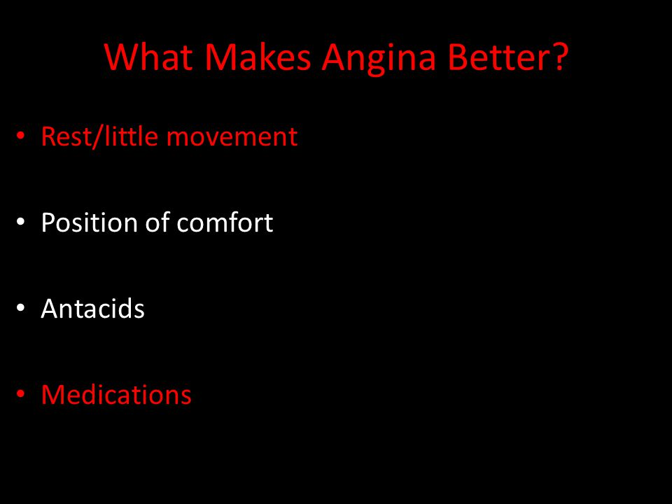 What Makes Angina Better