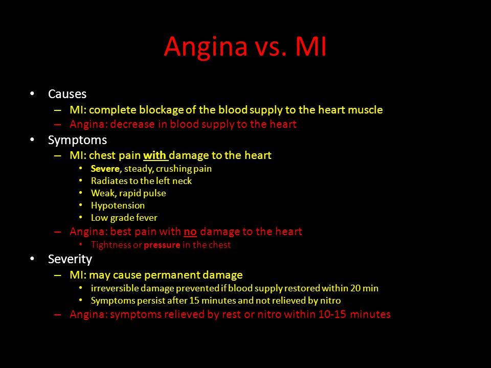 Angina vs. MI Causes Symptoms Severity