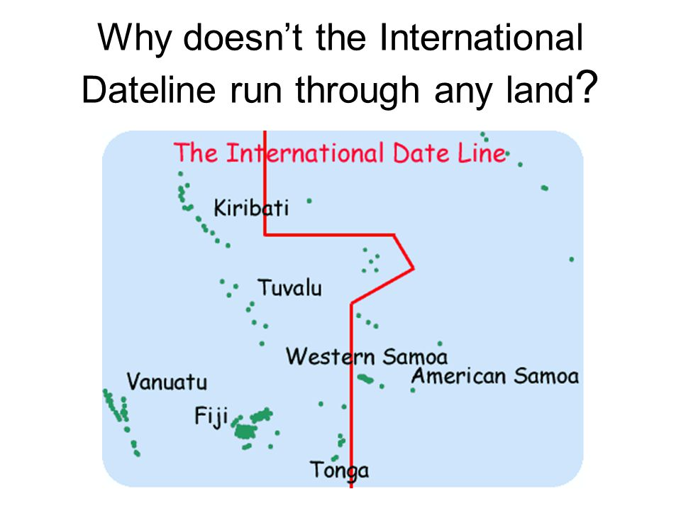 Why doesn't the International Dateline run through any land