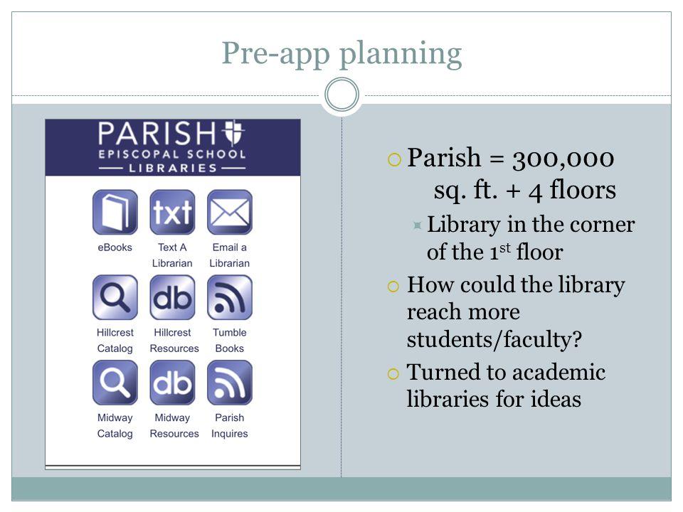 Pre-app planning Parish = 300,000 sq. ft. + 4 floors
