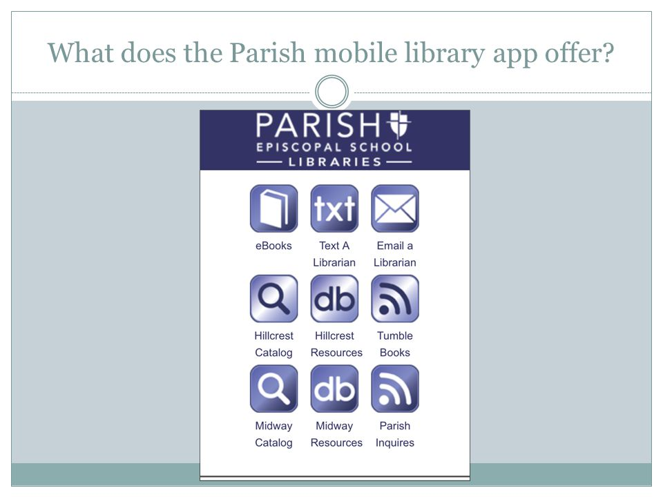 What does the Parish mobile library app offer