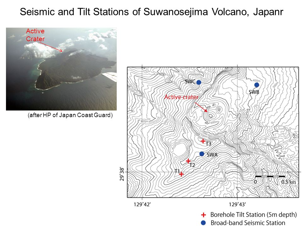 Seismic and Tilt Stations of Suwanosejima Volcano, Japanr