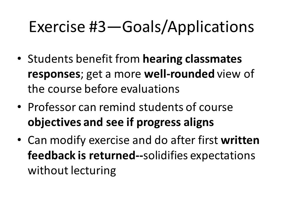 Exercise #3—Goals/Applications