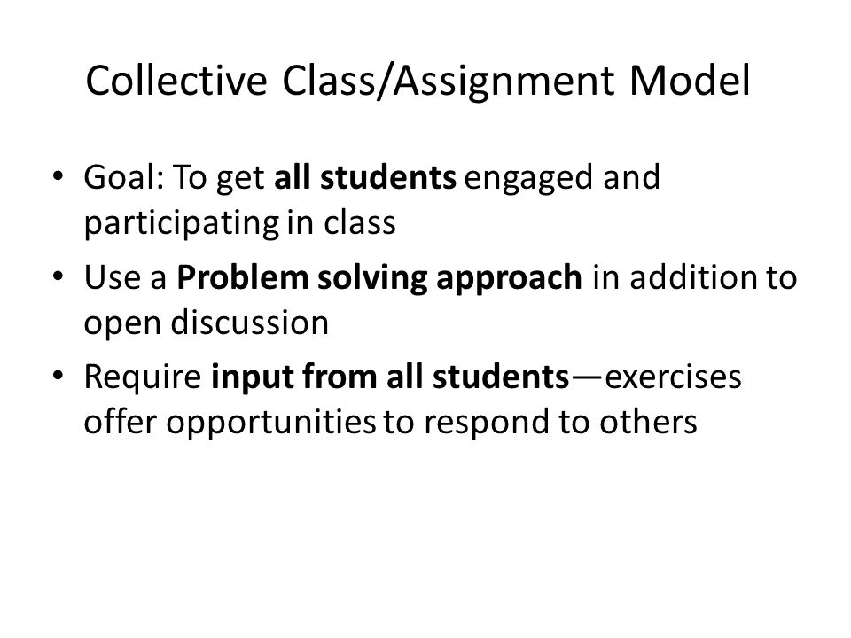 Collective Class/Assignment Model