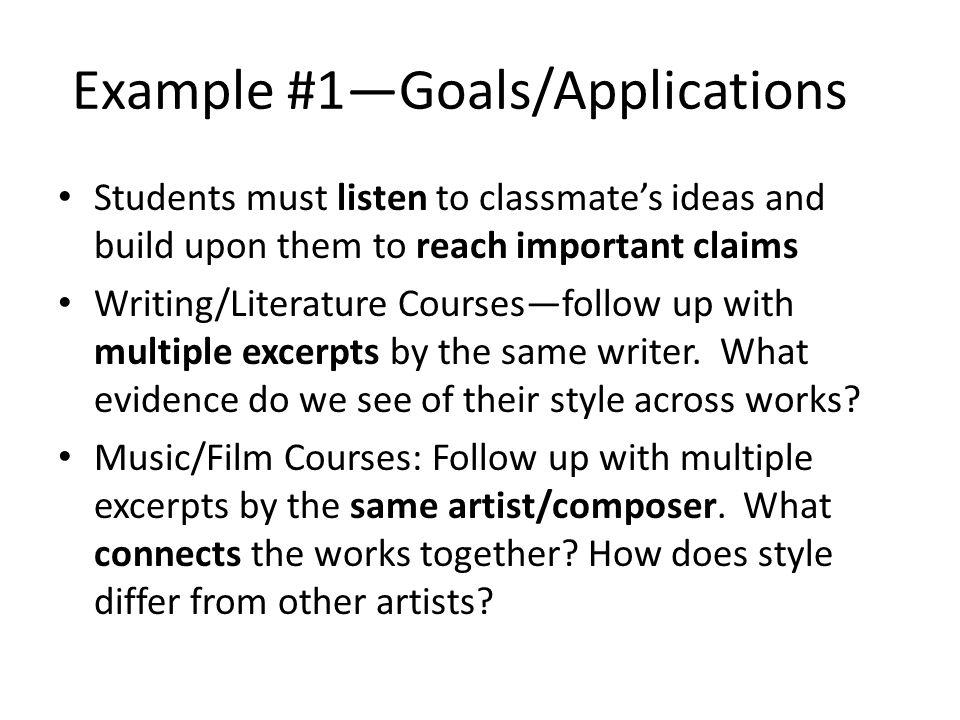 Example #1—Goals/Applications