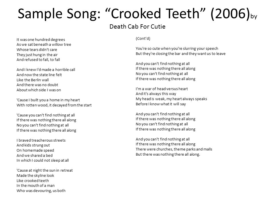 Sample Song: Crooked Teeth (2006)by Death Cab For Cutie