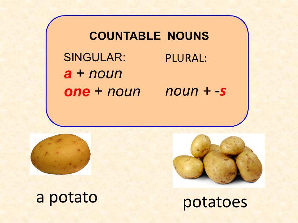 a potato potatoes noun + -s a + noun one + noun PLURAL: