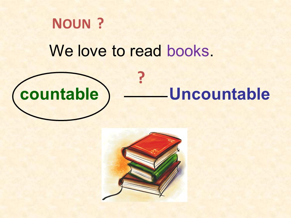 NOUN We love to read books. countable Uncountable