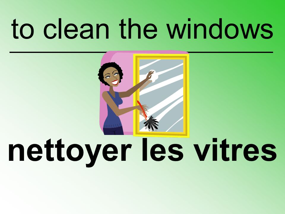 to clean the windows nettoyer les vitres