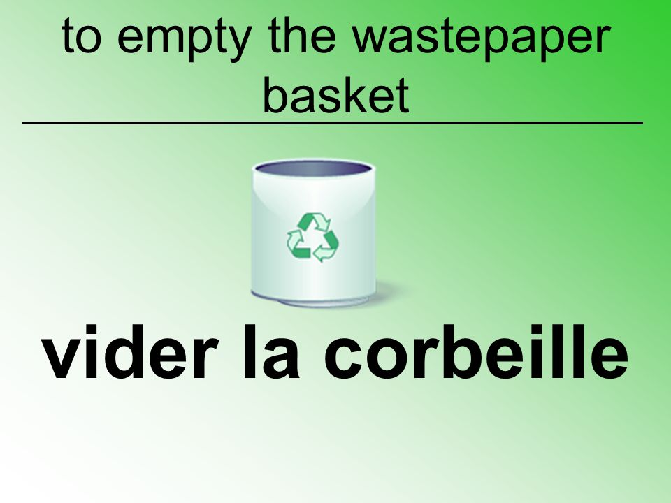 to empty the wastepaper basket