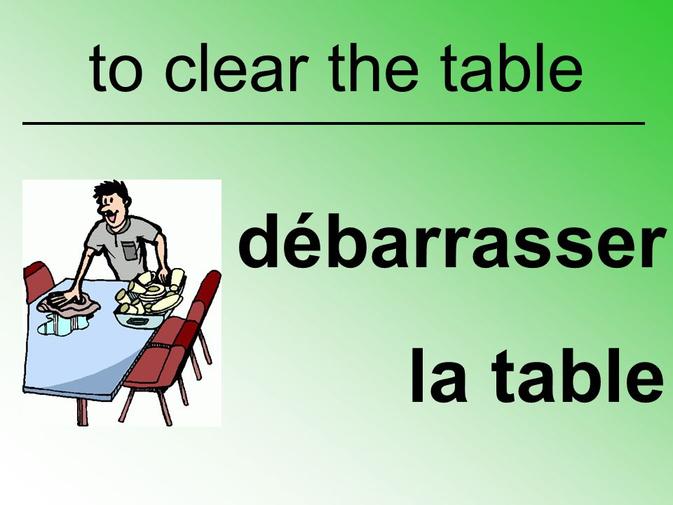to clear the table débarrasser la table