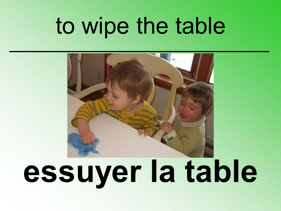 to wipe the table essuyer la table